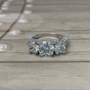Sterling Silver 3 Stone Engagement Ring
